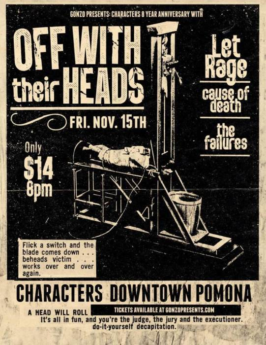 OFF WITH THEIR HEADS Gonzopresents/Characters Anniversary