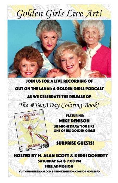 golden girls podcast live and beaaday coloring book launch nerdmelt showroom los angeles ca. Black Bedroom Furniture Sets. Home Design Ideas