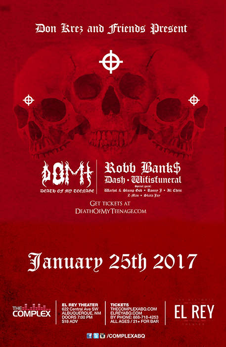 Robb Bank$ Da$h, Wifisfuneral + More @ The Historic El Rey Theater  Albuquerque, NM - January 25th 2017 8:00 pm
