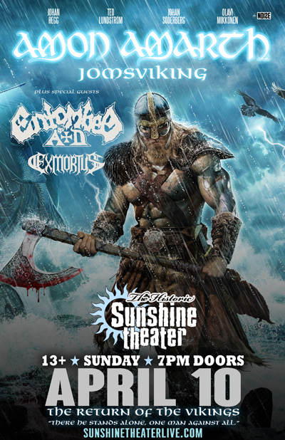 amon amarth entombed a d exmortus jomsviking tour sunshine theater albuquerque nm. Black Bedroom Furniture Sets. Home Design Ideas