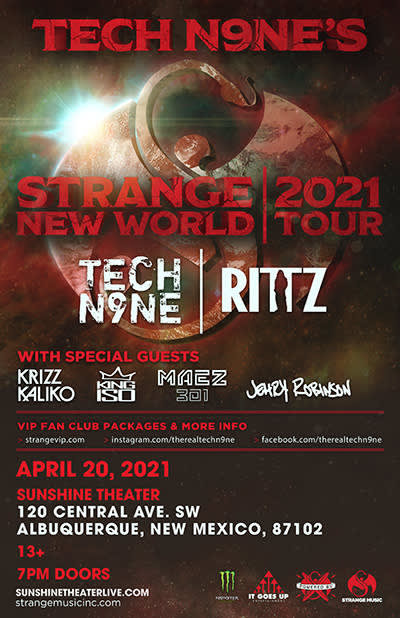 TECH N9NES STRANGE NEW WORLD TOUR 2021