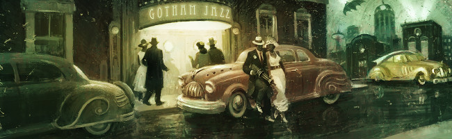Outside a jazz club, a well-dressed couple leans against a Studebaker, the man casually brandishing something that is half tommy gun, half ray gun.