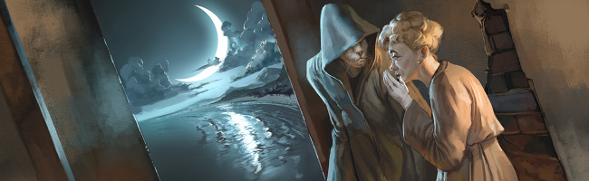 A woman whispers to a mysterious hooded figure with a cat-like face. Next to them, the view through an open door reveals a gigantic crescent moon over quiet shores.
