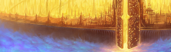 Amidst endless clouds floats a vast, golden city. Massive gates swing open to reveal the blinding light within.