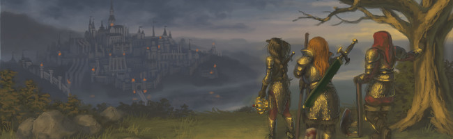 Three tired and battered adventurers stand on a hill at dusk, looking out towards the distant, twinkling lights of a great city — their destination.