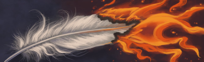 A beautiful, long white feather bursts into bright orange flames.
