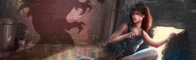 A young woman crouches in an alley, preparing to slip through a magical door as the shadow of a meancing monster looms just over her shoulder.