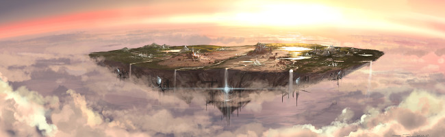 A massive circular continent floats high in the atmosphere above a barren, lifeless planet. Every imaginable biome covers its surface, interspersed by large, futuristic cities. Waterfalls cascade over the sides and into the void below.