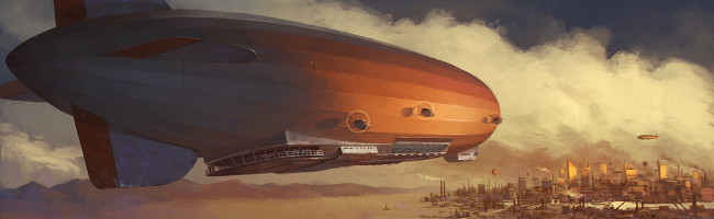 A massive zeppelin, shining golden in the evening light, soars towards a metropolis on the horizon.