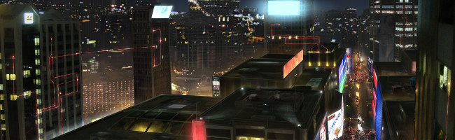 In a futuristic nighttime cityscape, beams of red light trace paths across both buildings and the sky.
