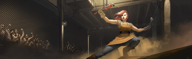 Inside an arena battle cage, a woman fiercy brandishes improvised weapons as she faces an unseen opponent.