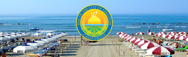 An idyllic beach scene with bright, multicolored umbrellas and cerulean blue waters under crystal clear skies, overlaid with the official seal of the city of Sanditon, California.