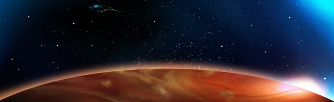 A starship floats against the blackness of space as a brilliant red planet looms underneath.