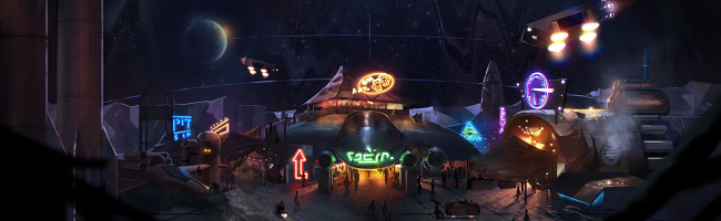 A bustling, seedy spaceport, lit by neon signs and the exhaust of cargo ships, shimmers beneath a geodesic dome.