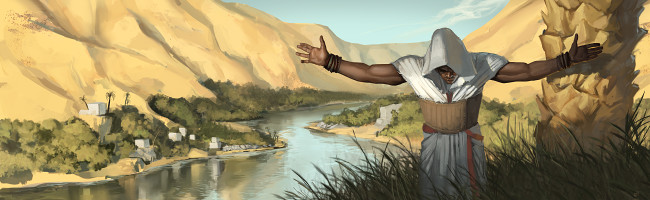 A man in tribal religious attire stands before an arid river valley, head bowed and arms stretched wide.
