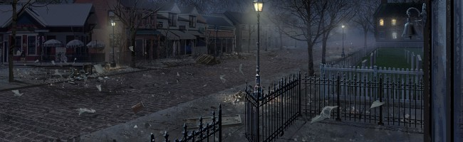 A nighttime view of a village street. The scene is eerily empty, with gates left open and debris blowing in the wind.