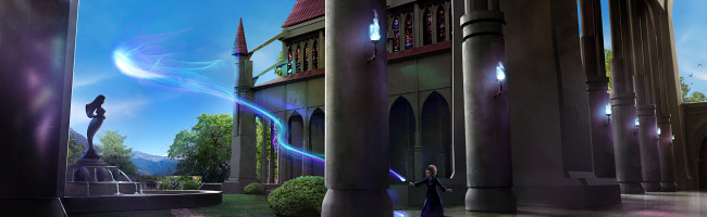 A young woman stands in the courtyard of a majestic castle with arm outstretched as a beam of brilliant blue energy arcs from her wand and leaps high into the sky.