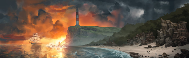 Under stormy, ominous skies, a brilliant sunset frames a jagged cliff topped by a lighthouse. Nearer by, a rocky beach shelters an abandoned rowboat. Further out to see, a tall masted ship sets out for the horizon.