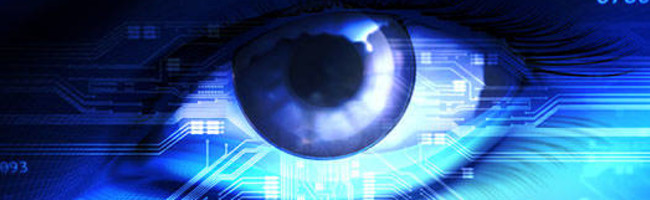 Placeholder Image, eye superimposed over blue electronics