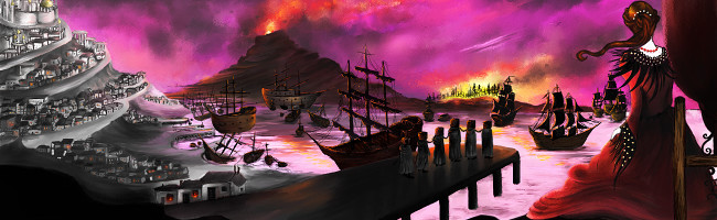 A forlorn woman looks out over a harbor ringed in nightmarish fire as cloaked figures board an awaiting three-masted ship.