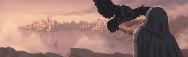 A large hawk alights on the outstretched arm of a cloaked woman as a magnificent city shimmers in the distance.