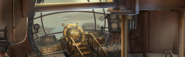Interior of a steampunk airship, looking out of the window over the bridge controls.  The sea and some small islands can be seen.