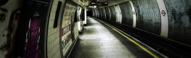An oversaturated image of a platform at St. John's Wood underground station.  It gives off an unsettling, off-kilter vibe.