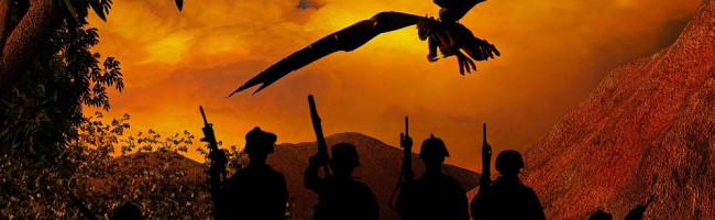 A group of modern soldiers stands silhouetted against a sunset sky - but in the background, a dragon flies by.