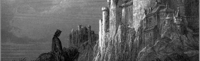 Illustration of Camelot from Alfred Lord Tennyson's Idylls of the King, illustrated by Gustave Dore