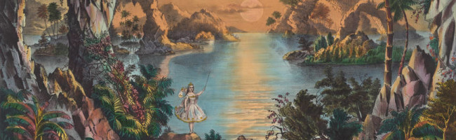 A small fairy holding a wand stands in front of a colorful grotto surrounded by vegetation as the sun sets over the water.