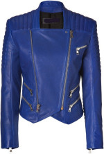 Glamzelle - ***EXCLUSIVE*** Moto Biker Quilted Blue Leather Jacket
