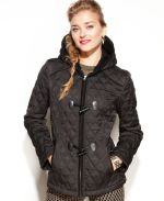 Macy's - Laundry by Design Coat, Hooded Toggle-Front Quilted