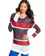 Macy's - Keds Juniors Sweater, Long-Sleeve Metallic Striped Tunic