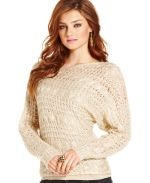 Macy's - Jessica Simpson Sweater, Dolman-Sleeve Open-Knit Metallic