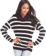Macy's - Sweater Project Juniors' Striped Eyelash-Knit Sweater