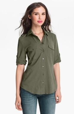 Sandra Ingrish - Three Quarter Roll Sleeve Knit Shirt (Regular & Petite)