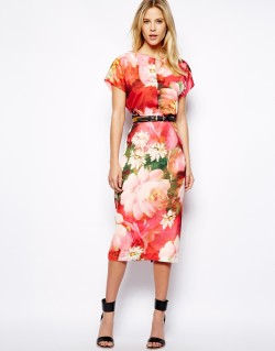 Ted Baker - Longer Length Dress in Bright Floral Print