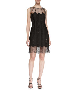 Kay Unger New York - Sleeveless Mesh-Top Fringe-Hem Cocktail Dress