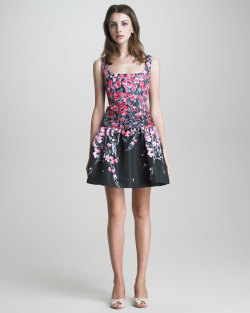 Red Valentino - Square-Neck Drop-Waist Floral Dress