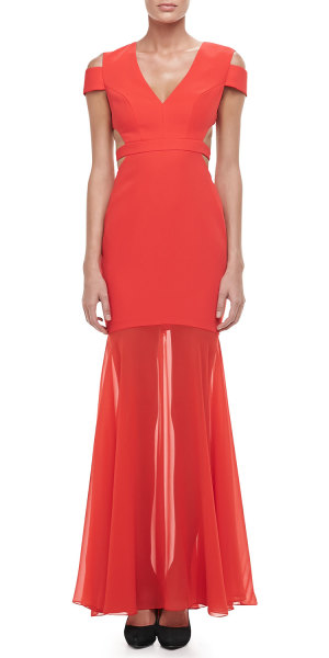 Neiman Marcus - Ava Cutout Sheer-Skirt Gown
