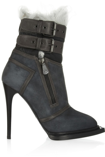 McQ Alexander McQueen - Leather-trimmed suede and shearling ankle boots