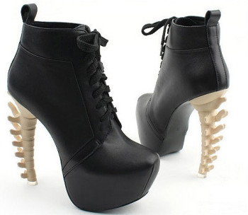 Glamzelle - Skeleton Spine High Heels Booties