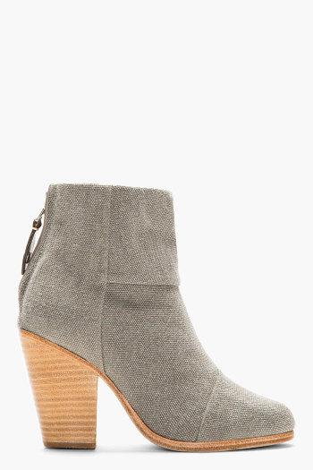 Rag & Bone - Grey Canvas Newbury Ankle Boots