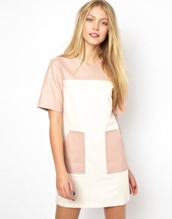 Lavish Alice - Shift with Faux Suede Color Block Panels