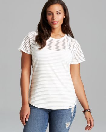 Vince - CAMUTO Plus Sheer Stripe Tee with Cami