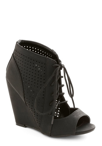 ModCloth - Perforate and See Wedge in Black