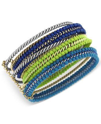 Jessica Simpson - Bracelet Set, Two-Tone Green and Blue Twisted Bangle Bracelets