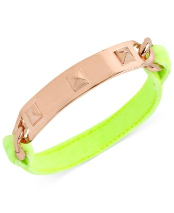 Steve Madden - Rose Gold-Tone Pyramid Stud Plaque Neon Green Stretch Bracelet