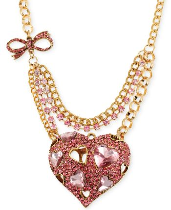 Betsey Johnson - Gold-Tone Pink Crystal Heart Pendant Necklace