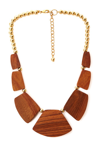 Forever 21 - Earthy Wooded Bib Necklace